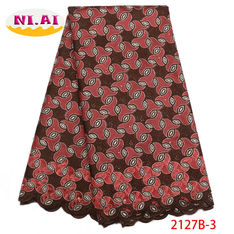 African Dry Lace Fabrics High Quality Cotton Lace Fabric Fashion Swiss Voile Lave Fabric For Nigerian Party Dresses NA2127B-2