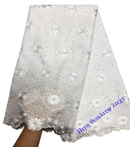 Image of African Dry Lace Fabrics High Quality For Men Cotton Dry Lace Fabric Swiss Voile With Stones Swiss Voile Lace In Switzerland