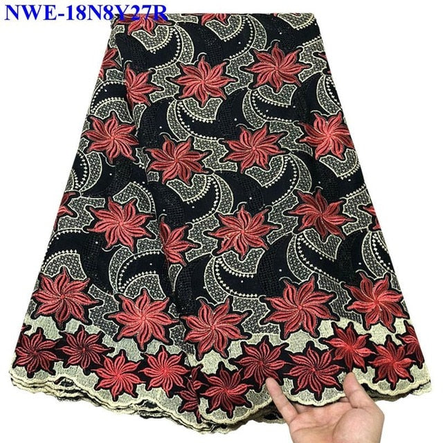 African Dry Lace Fabrics High Quality For Men Cotton Dry Lace Fabric Swiss Voile With Stones Swiss Voile Lace In Switzerland