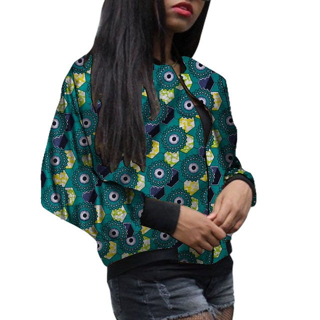 African Fashion Women's Baseball Jacket Dashiki Print Kente Coats Woman Bomber Jackets Custom Made Casual Ankara Styles Wear