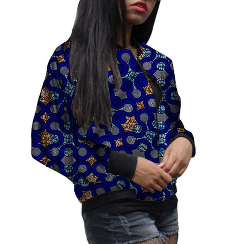 Image of African Fashion Women's Baseball Jacket Dashiki Print Kente Coats Woman Bomber Jackets Custom Made Casual Ankara Styles Wear