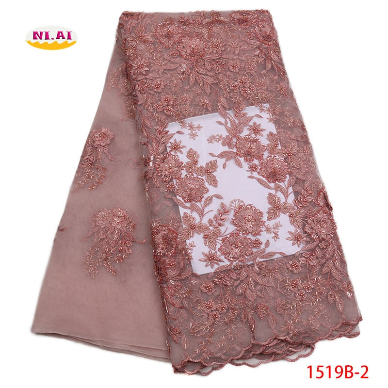 African Gold Lace Fabric 2018 High Quality Lace Pink Handmade Beaded Lace Fabric With Sequins African Dresses For WomenNA1519B-2