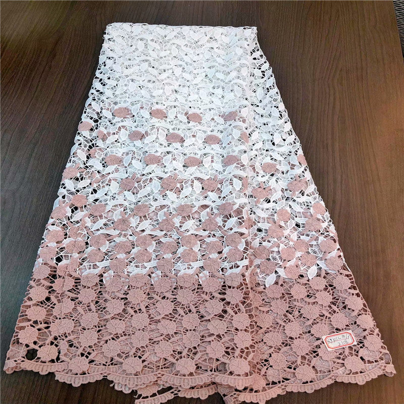 African Guipure Lace Fabric High Quality Nigerian Cord Lace Fabric Beautiful Water Soluble Lace For Wedding Dress   GDP002