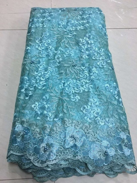 African Lace Fabric 2018 Embroidered Nigerian Laces Fabric Bridal High Quality French Tulle Lace Fabric for Women ZJ013 Green