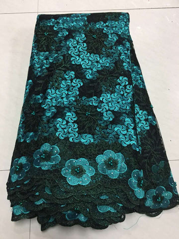 Image of African Lace Fabric 2018 Embroidered Nigerian Laces Fabric Bridal High Quality French Tulle Lace Fabric for Women ZJ013 Green
