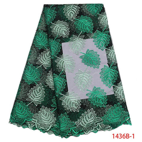 Image of African Lace Fabric 2018 Embroidered Nigerian Laces Fabric High Quality French Tulle Lace Fabric For Women Dress XY1436B-4