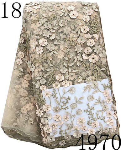 Image of African Lace Fabric 2018 High Quality 3D Lace French Net Lace Fabrics,African Nigerian Lace Beads stone Fabrics For Wedding