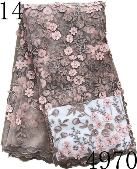 African Lace Fabric 2018 High Quality 3D Lace French Net Lace Fabrics,African Nigerian Lace Beads stone Fabrics For Wedding