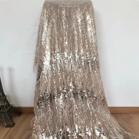 Image of African Lace Fabric 2018 High Quality French Velvet Lace Fabric With Sequins and feather Lace Fabric For Wedding Party HX564-1