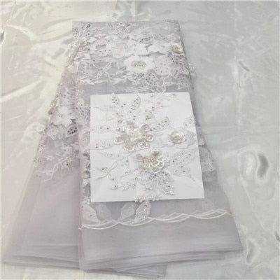 African Lace Fabric 2018 High Quality Lace 3D Flower Lace Fabric Beautiful Applique Stones Lace For Nigerian Wedding Dress H55-2