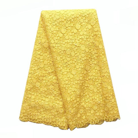 Image of African Lace Fabric 2018 High Quality Lace For African Parties White Gold Yellow Lace Fabric New Tulle French Lace Fabrics