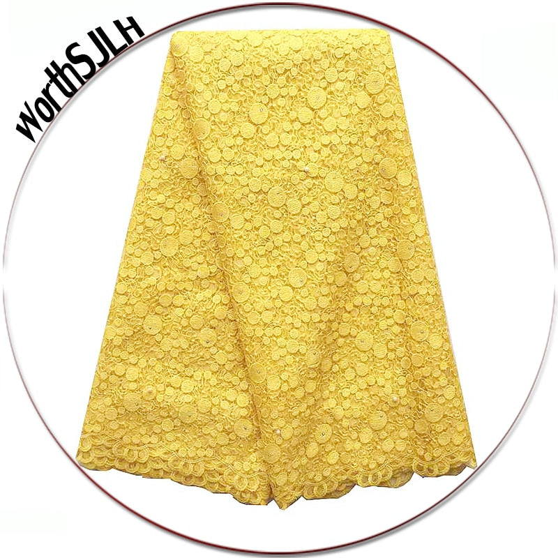 African Lace Fabric 2018 High Quality Lace For African Parties White Gold Yellow Lace Fabric New Tulle French Lace Fabrics