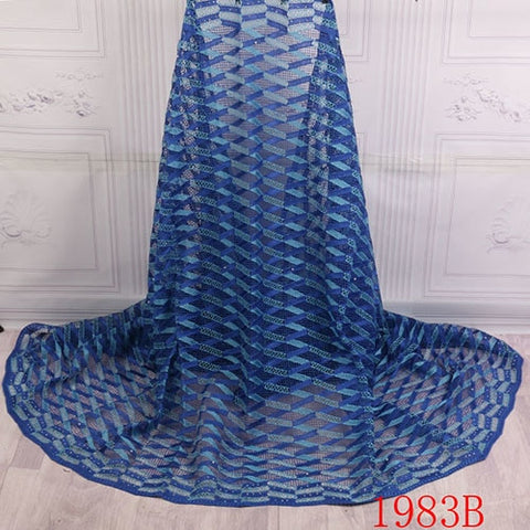 Image of African Lace Fabric 2018 High Quality Lace For Nigerian Wedding Dress Water Soluble Lace With Beads Cord Lace Fabric XY1983B-1