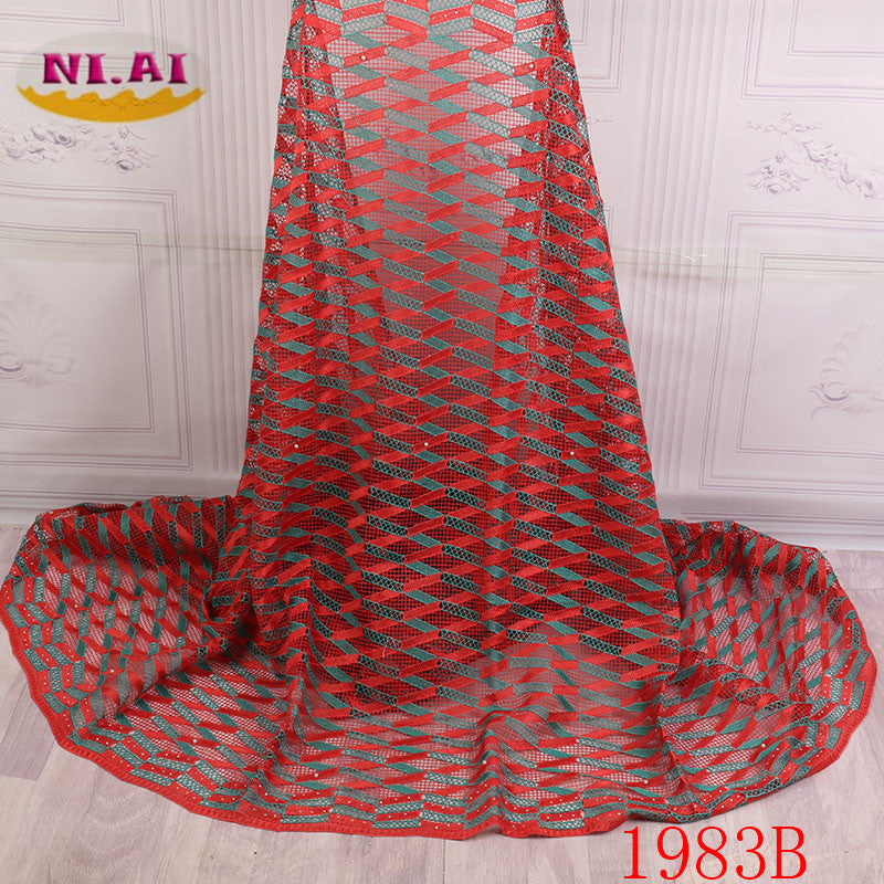 African Lace Fabric 2018 High Quality Lace For Nigerian Wedding Dress Water Soluble Lace With Beads Cord Lace Fabric XY1983B-1