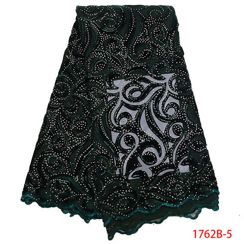 African Lace Fabric 2018 High Quality Lace Nigerian Lace Fabric With Stones Embroidery Tulle French Lace Women Dress XY1762B-4