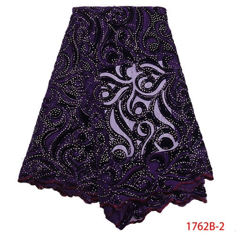 Image of African Lace Fabric 2018 High Quality Lace Nigerian Lace Fabric With Stones Embroidery Tulle French Lace Women Dress XY1762B-4