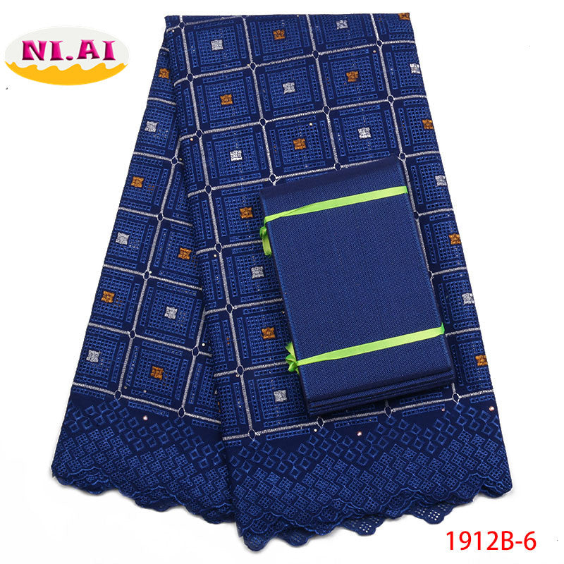 African Lace Fabric 2018 High Quality Lace Swiss Cotton Lace Asoebi african latest Royal Blue Lace Fabrics For Wedding NA1912B-1