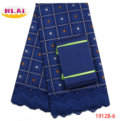 Image of African Lace Fabric 2018 High Quality Lace Swiss Cotton Lace Asoebi african latest Royal Blue Lace Fabrics For Wedding NA1912B-1
