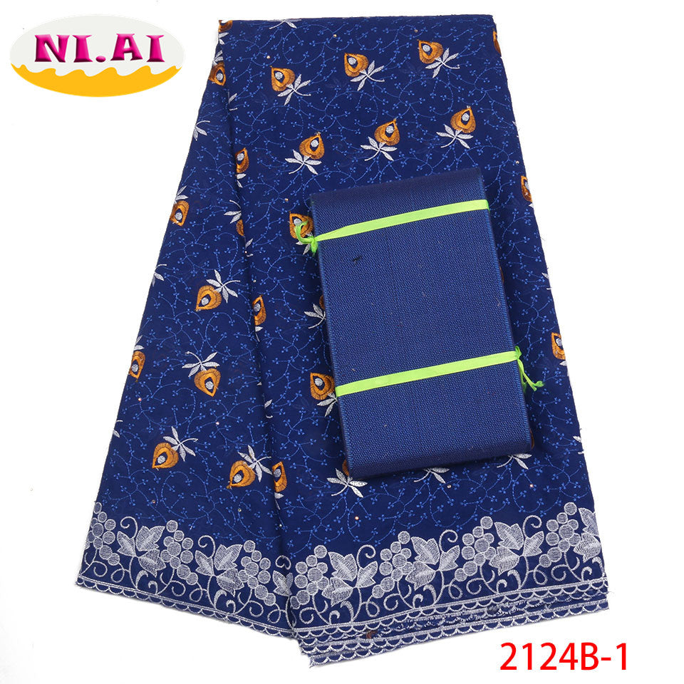 African Lace Fabric 2018 High Quality Lace Swiss Voile Lace Fabric With Aso Oke Royal Blue Dry Laces For Party Dress NA2124B-1