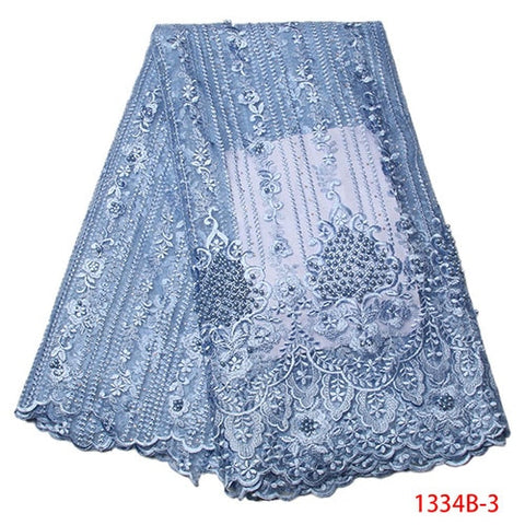 Image of African Lace Fabric 2018 High Quality Nigerian Lace Fabrics Tissu Africain Guipure Embroidery French Tulle Lace Fabric 1334B