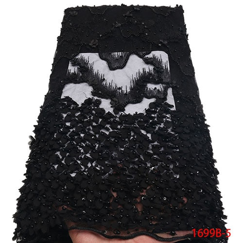 African Lace Fabric 2018 High Quality Off White French Lace Fabric Heavy Lace Fabric Black Beaded Trim For Wedding A1699B-2