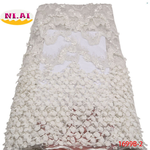 Image of African Lace Fabric 2018 High Quality Off White French Lace Fabric Heavy Lace Fabric Black Beaded Trim For Wedding A1699B-2