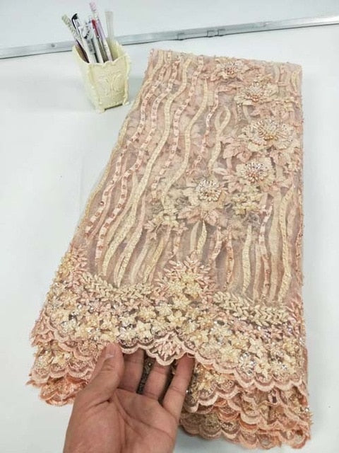 African Lace Fabric 2019 Embroidered Nigerian Lace Fabric Bridal High Quality French Tulle Lace Fabric For Women Dress