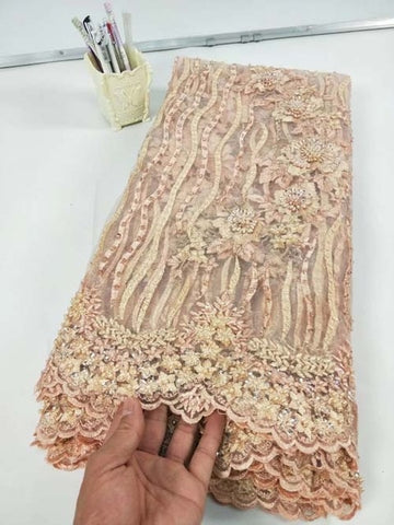 Image of African Lace Fabric 2019 Embroidered Nigerian Lace Fabric Bridal High Quality French Tulle Lace Fabric For Women Dress