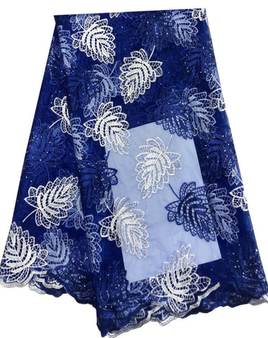 Image of African Lace Fabric 2019 Embroidered Nigerian Laces Fabric Bridal High Quality French Tulle Lace Fabric For Women Dress blue Z95