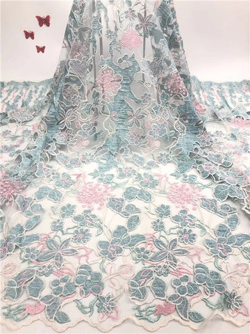 Image of African Lace Fabric 2019 Embroidered Nigerian Laces Fabric Bridal High Quality French Tulle Lace Fabric    JIAJIAJUL044