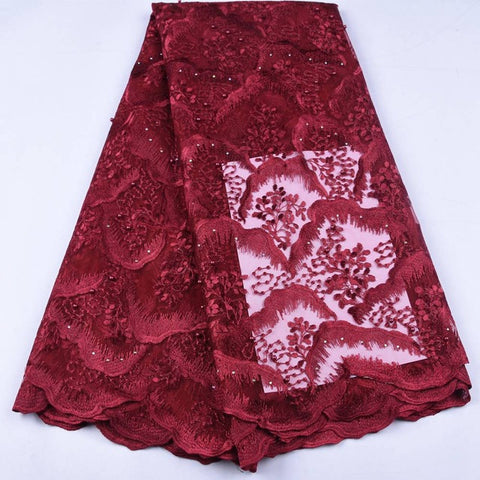 Image of African Lace Fabric 2019 High Quality French Mesh Lace Fabric Stones Nigerian  Lace Fabrics For Women Wedding Pafty Dress A1659