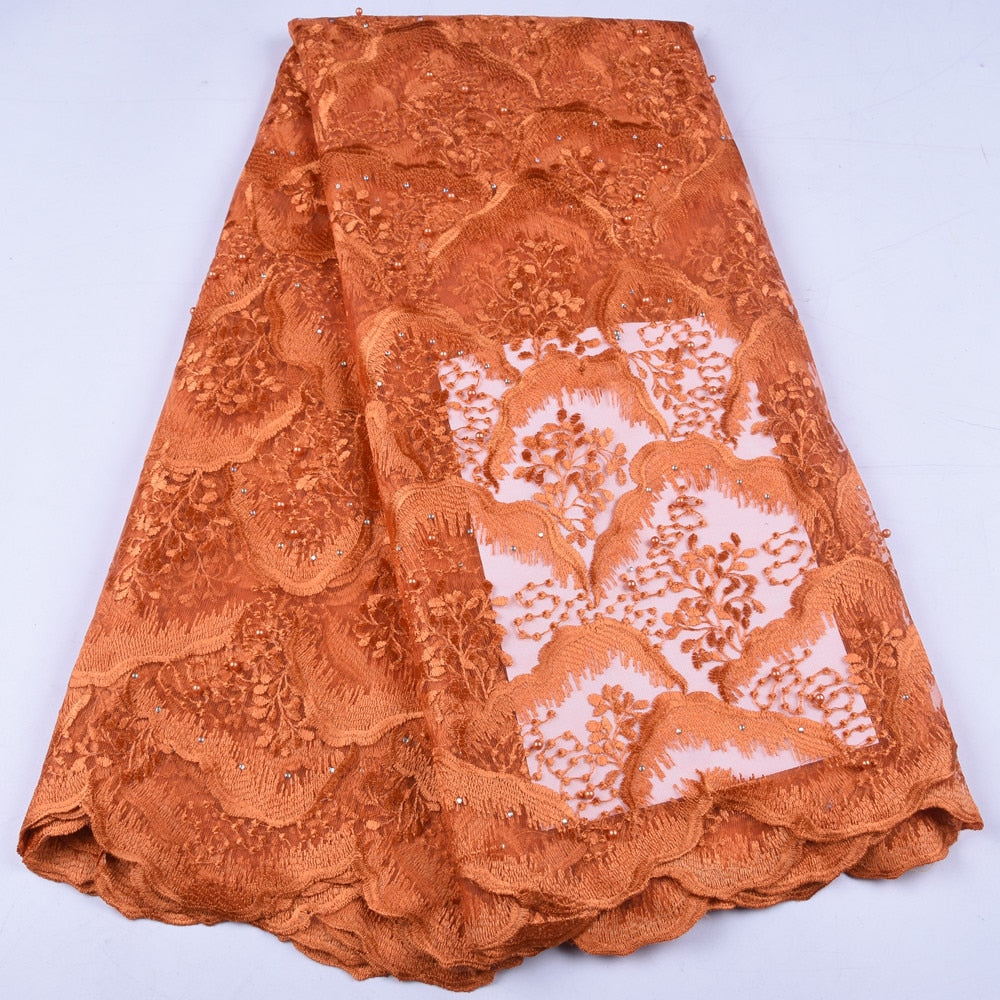 African Lace Fabric 2019 High Quality French Mesh Lace Fabric Stones Nigerian  Lace Fabrics For Women Wedding Pafty Dress A1659