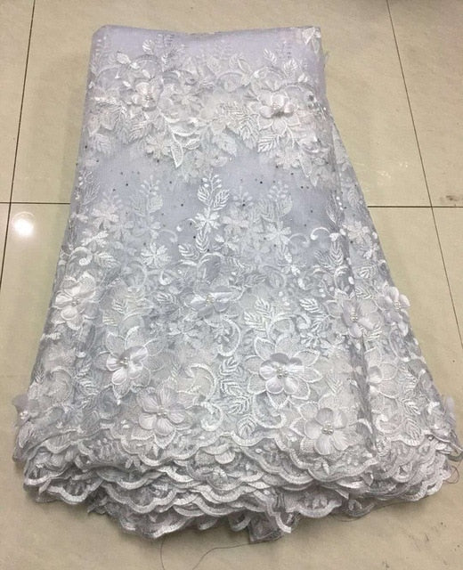 African Lace Fabric 2019 High Quality Lace 3d Applique Embroidery Tulle French Lace Fabric For Wedding Lace Z135