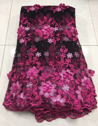Image of African Lace Fabric 2019 High Quality Lace 3d Applique Embroidery Tulle French Lace Fabric For Wedding Lace Z135