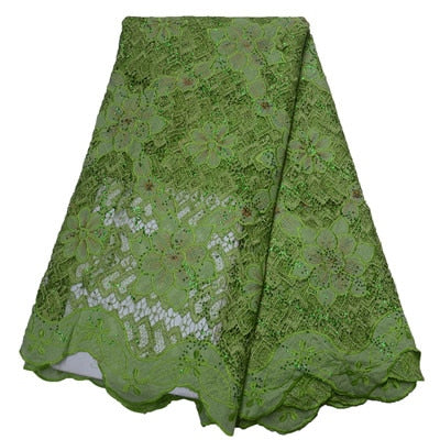 Image of African Lace Fabric 2019 High Quality Lace For Bride Wedding Fabric Nigerian Green Tulle Lace Fabric With Stones/SequinsHJ1556-1