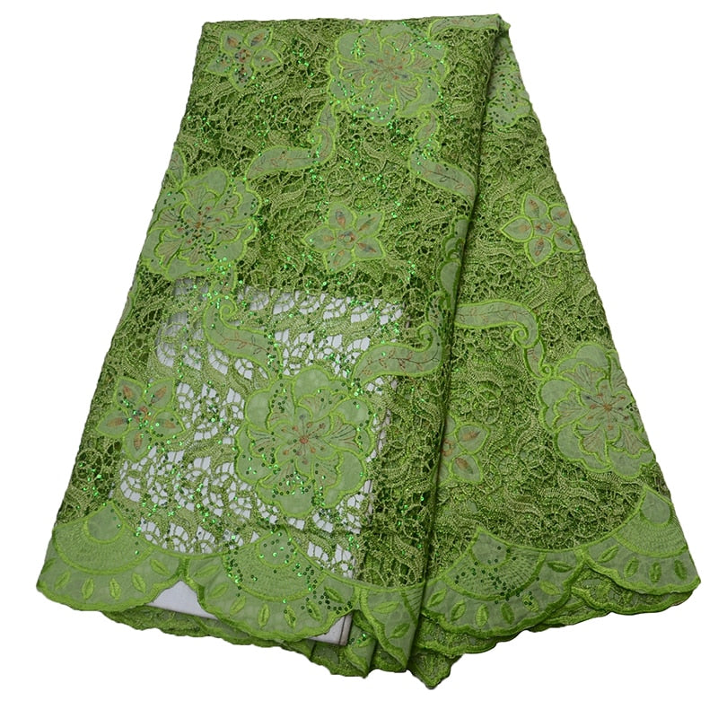 African Lace Fabric 2019 High Quality Lace For Bride Wedding Fabric Nigerian Green Tulle Lace Fabric With Stones/SequinsHJ1556-1