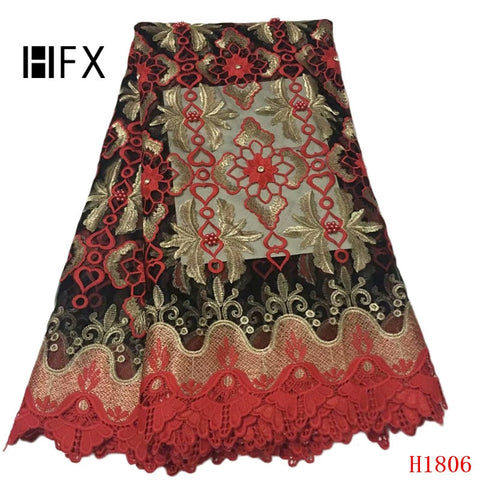 Image of African Lace Fabric 2019 High Quality Lace Luxury Fabric French Nigerian Beads Lace Fabric 3d Embroidery Wedding Lace Red H1806