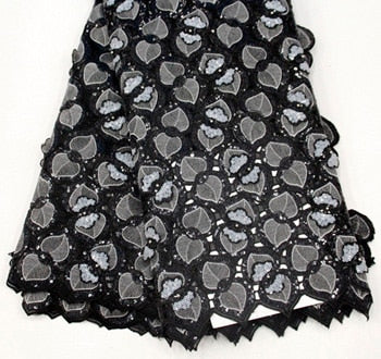 African Lace Fabric 2019 High Quality Lace Nigerian Lace Fabric With Beaded aso ebi Embroidery Tulle French Lace Women 5yard