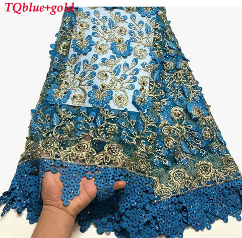 Image of African Lace Fabric 2019 High Quality Lace Pearls Embroidery Tulle Lace Fabric African Lace Beaded 5 Yards For Dress   BK0025