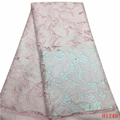 African Lace Fabric 2019 High Quality Lace Women, French Pink Cord Laces For Nigerian Party Dress French Net Lace Fabric H1748