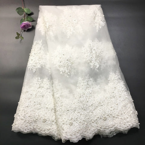 Image of African Lace Fabric 2019 High Quality Lace with Beaded Lace Fabric Off White for Party French Tull Nigerian Lace Fabric RF2735
