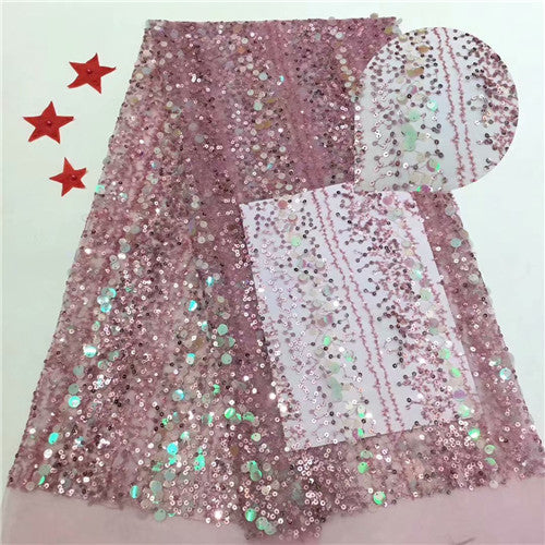 African Lace Fabric 2020 Embroidered Nigerian sequins  Laces Fabric High Quality French Tulle Lace Fabric For Women     YDDE271