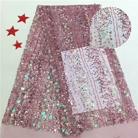Image of African Lace Fabric 2020 Embroidered Nigerian sequins  Laces Fabric High Quality French Tulle Lace Fabric For Women     YDDE271