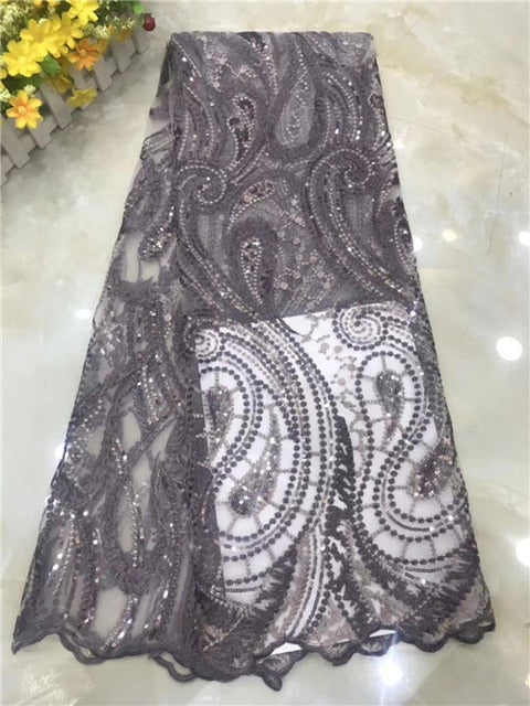 African Lace Fabric 2020  French Cord Lace Fabric Embroidered Nigerian Tulle Lace Fabric  for Wedding      DPNO252