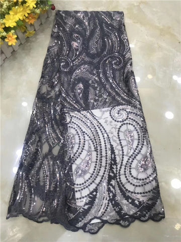 Image of African Lace Fabric 2020  French Cord Lace Fabric Embroidered Nigerian Tulle Lace Fabric  for Wedding      DPNO252