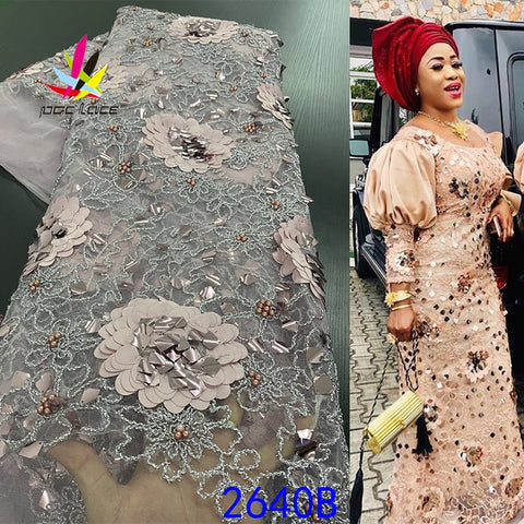 Image of African Lace Fabric 2020 High Quality Sequins Lace Fabric 3d French Lace Beaded Handmade Tulle Lace Fabric For Women XZ2640B-1