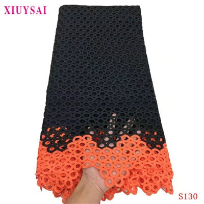 Image of African Lace Fabric 2020 black Guipure Lace Embroiderey African Cord Lace Fabric High Quality Nigeria Lace Fabric For Wedding