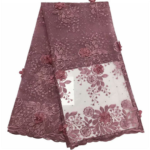 Image of African Lace Fabric 2020 stones High Quality pink 3D Lace Onion Color French Tulle Lace Fabrics With Beaded For African Parties