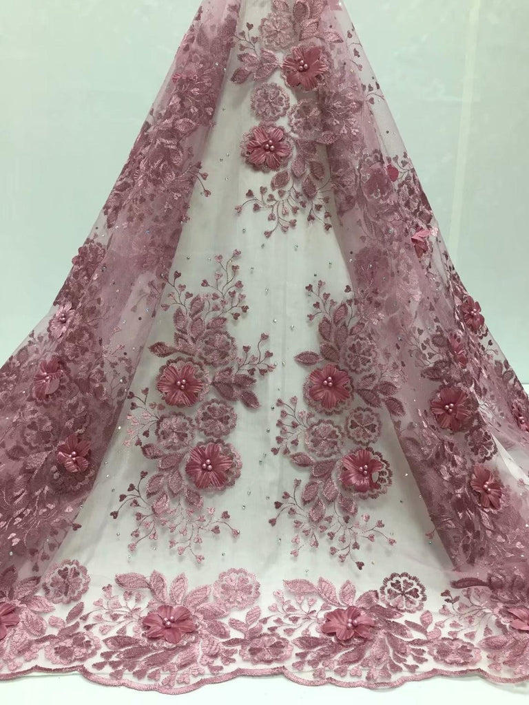 African Lace Fabric 2020 stones High Quality pink 3D Lace Onion Color French Tulle Lace Fabrics With Beaded For African Parties