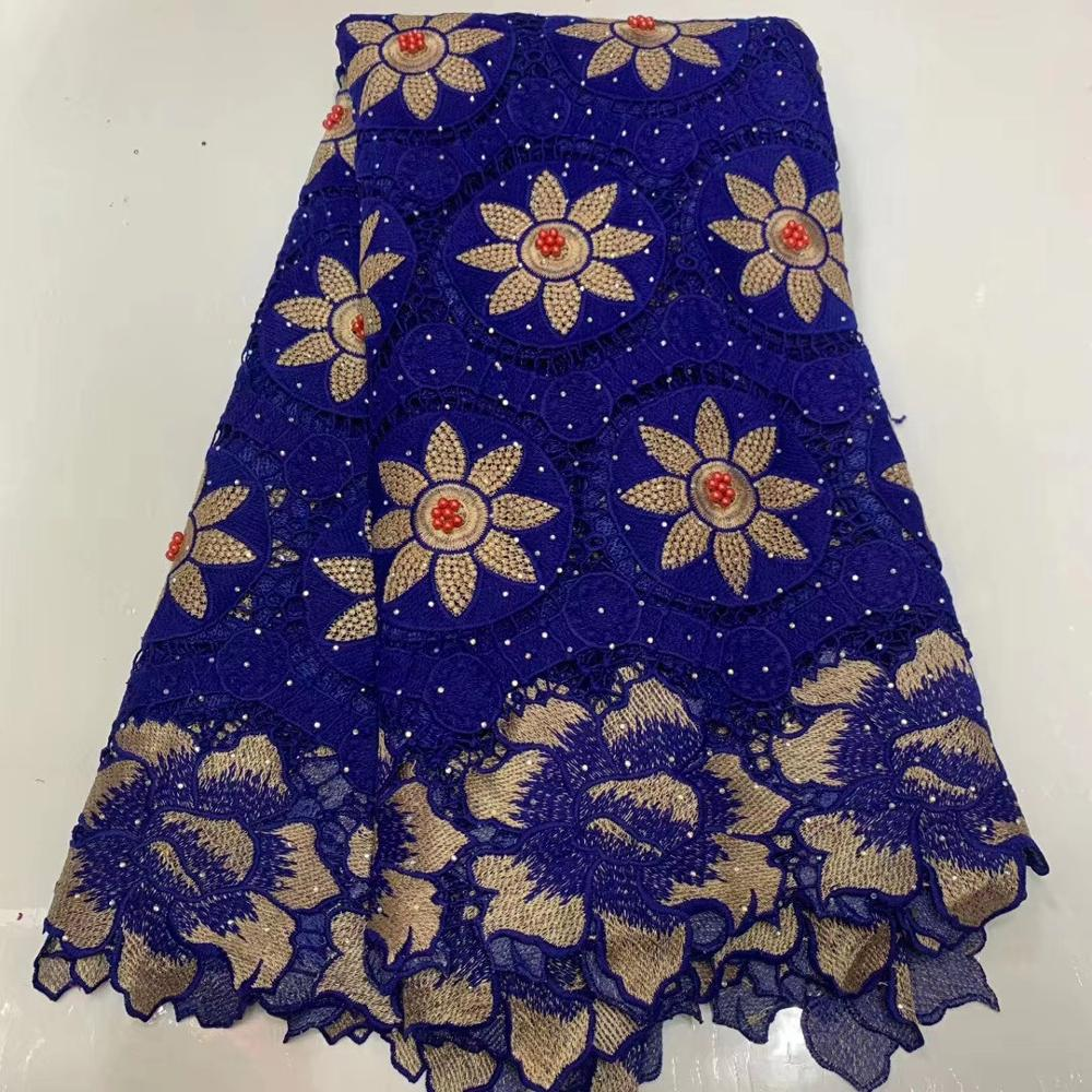 African Lace Fabric Embroidered Nigerian Guipure for Wedding High Quality 2020 French Tulle Lace Fabric with Beads 5 Yards